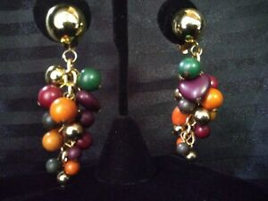 Vintage-Gold-Tone-Beaded-Multi-Color-Dangle-Drop-Clip-On-Earrings