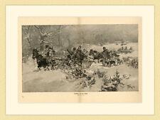Rückkehr von der Jagd Gemälde von J. Vesin Pferde Troika Kutsche HOLZSTICH G48