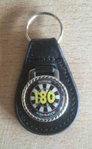 Designa Darts Quality Leather Black Fob Keyring Available in Various Designs