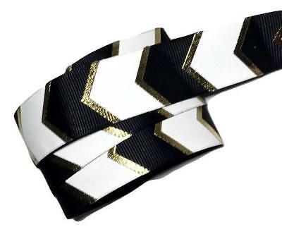 "5 yards Black w// metallic gold arrow printed 7//8/"" grosgrain ribbon by the yard"