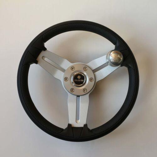 New OEM Gussi Boat Steering Wheel M15 Brushed Spoke Black Urethane Rim w//Knob