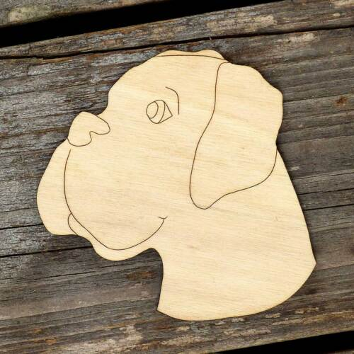 10x Wooden Boxer Dog Head Craft Shapes 3mm Plywood