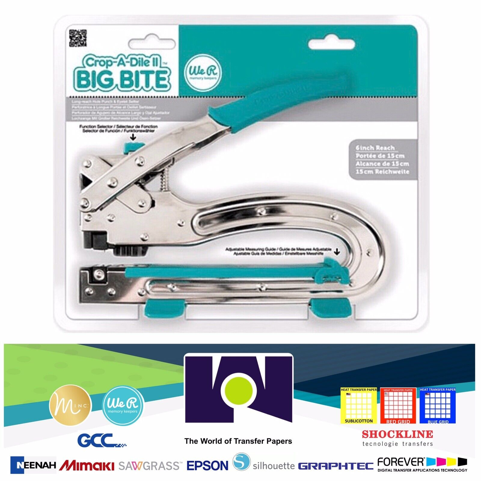 We R Memory Keepers Crop-A-Dile II Big Bite Hole Punch Eyelet Setter Tool 709114