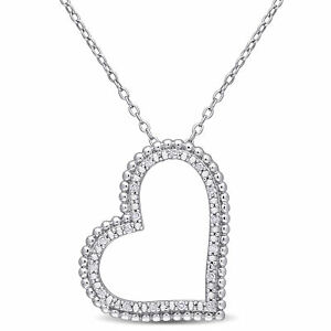 Amour Diamond Sterling Silver Beaded Heart Pendant