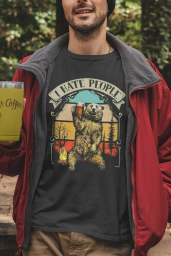 Outdoors Details about  /Bear 2 I Hate People Tshirt Unisex Camping