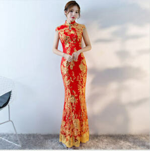 0d939cb2b Image is loading Chinese-Cheongsam-Wedding-Dress-Red-Lace-Mermaid-Prom-