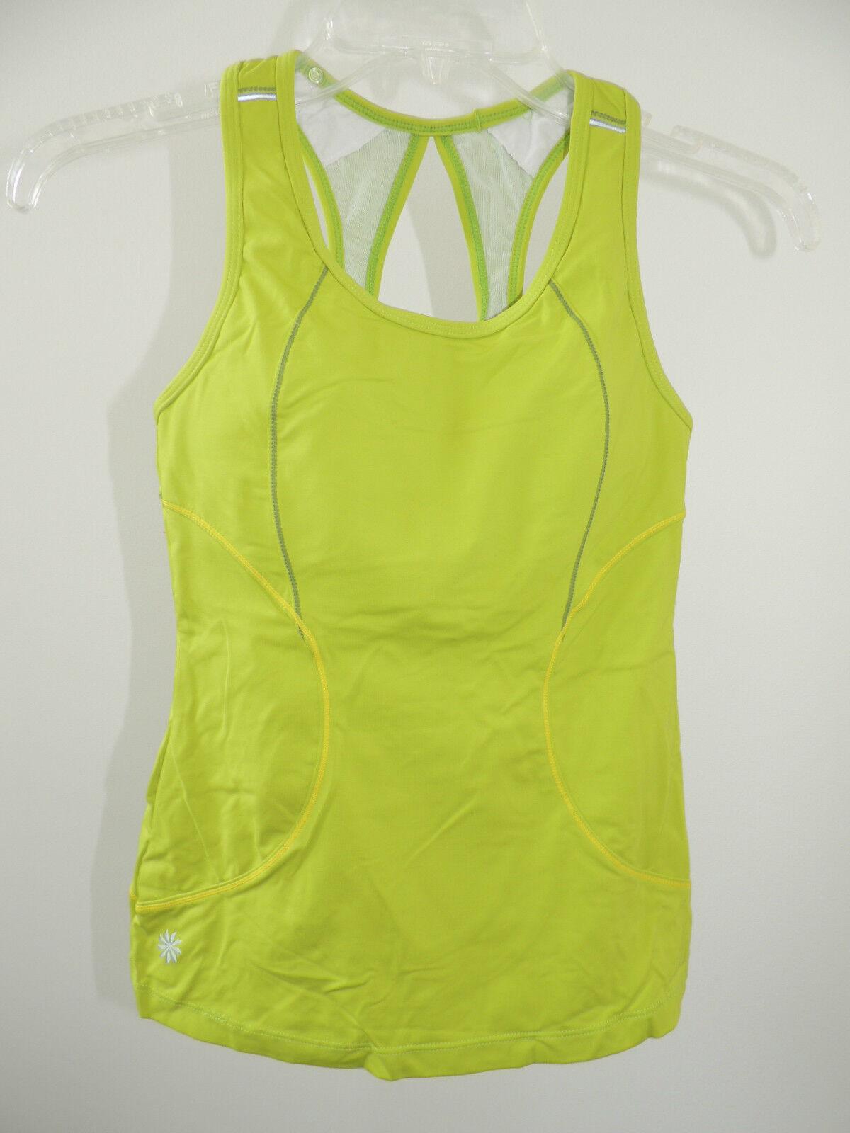 Womens Sz XXS  ATHLETA  Sport Top With Shelf Bra NEW Neon Green Workout Tank