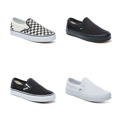 Authentic Vans Slip On Shoes Classic Black White Canvas Men Sneakers All  Sizes