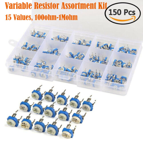 1 Mohm 150pc Tri 15-Valeur Potentiomètre Trimmer Ajustable Résistance 100ohm
