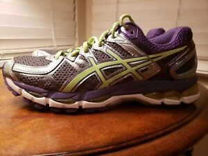 Details zu Asics Gel Kayano 21 Women's Running Shoes Sz 8.5 Narrow Gray  Purple Lime (T4H7N)