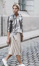 Zara Metallic Cooper Leather Biker Jacket Size M Uk 10 Genuine Zara