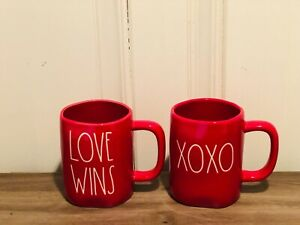 Rae-Dunn-Valentine-039-s-Day-By-Magenta-LL-LOVE-WINS-XOXO-Red-Mug-Set-of-2-HTF
