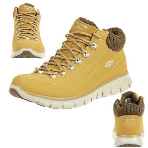 Skechers Synergy Winter Nights Damen Boots Sneakers Leder Wheat Braun 12122//WTN
