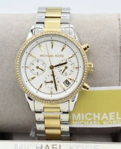 98eef4cca8f1 Michael Kors MK6474 Women s Ritz Two-Tone Chronograph White Dial ...