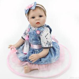 "22"" Lifelike Newborn Vinyl Silicone Baby Girl Doll Realistic Reborn Baby Dolls"