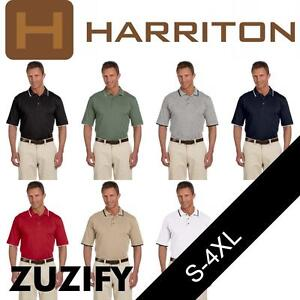 Harriton Mens Short-Sleeve Pique Polo Shirt with Tipping. M210