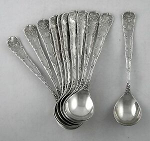 Sterling-Tiffany-amp-Co-WAVE-EDGE-chocolate-spoons-set-of-11-1884