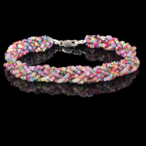 Natural-Emerald-Ruby-Sapphire-Bracelet-7-50-034-Facetted-Beads-925-Silver-Clasp
