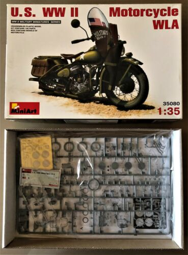 U.S 1//35 PLASTIC KIT WWII MOTORCYCLE WLA MINIART 35080