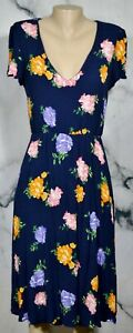 WAYF Blue Multicolor Floral Print Crinkle Look Dress XL Short Sleeves Lined