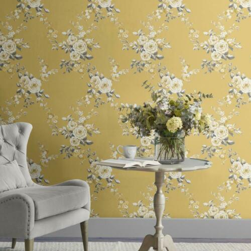 Catherine Lansfield Canterbury Floral Ochre Wallpaper Yellow Grey White Flowers