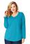 New Just My Size 3X  Cotton Blend Center Seam L//S V Neck Tee Top Bold Blue Heath