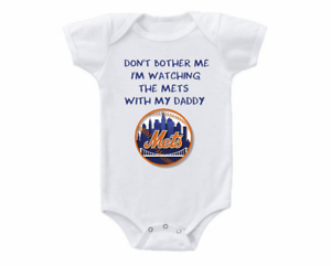 brand new 68ff8 d3ca1 Details about New York Mets Onesie Don't Bother Me Watching With Daddy  Shirt Bodysuit