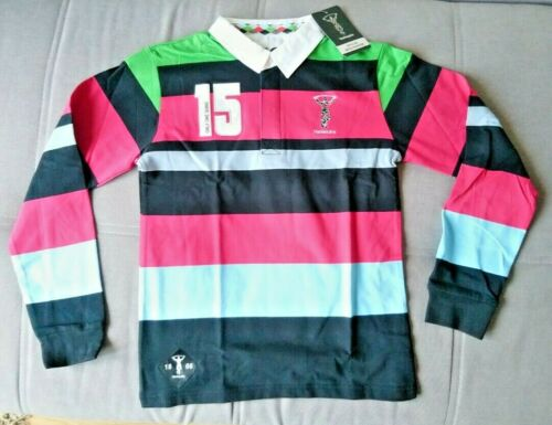 BOYS AGE 7-8 YEARS HARLEQUINS RUGBY LONG SLEEVE POLO SHIRT RRP £22.99 BNWT