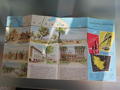 Übersichtskarte Schleswig-holstein Von 1957 Mit Vielen Farbigen Illustrationen