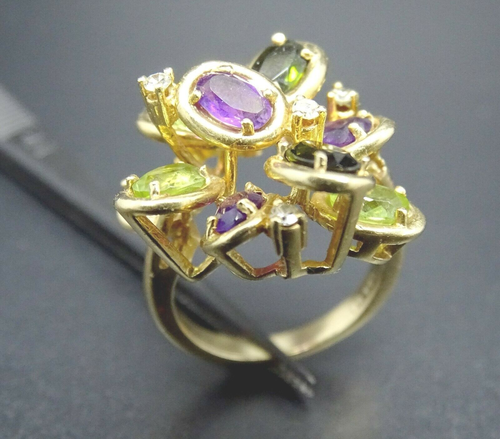 14k Solid gold Amethyst Peridot Diamond Large Ring heavy