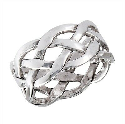 Woven Motif Sterling Silver Ring Size 7-13