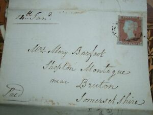 VICTORIAN-PENNY-RED-BROWN-USED-STAMP-WITH-CANAL-OFFICE-LETTER-LETTERD-R-H-1848