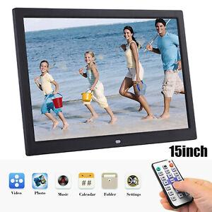 15Zoll Fotorahmen LCD HD Elektronisches Bilderrahmen Bilder Foto Musikvideo I3X2