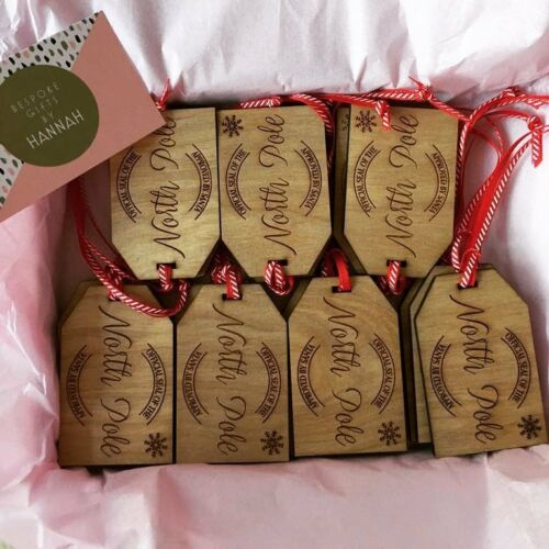 CHRISTMAS GIFTS RUSTIC DECS SEASONAL CHRISTMAS WOODEN GIFT x3 TAGS North Pole