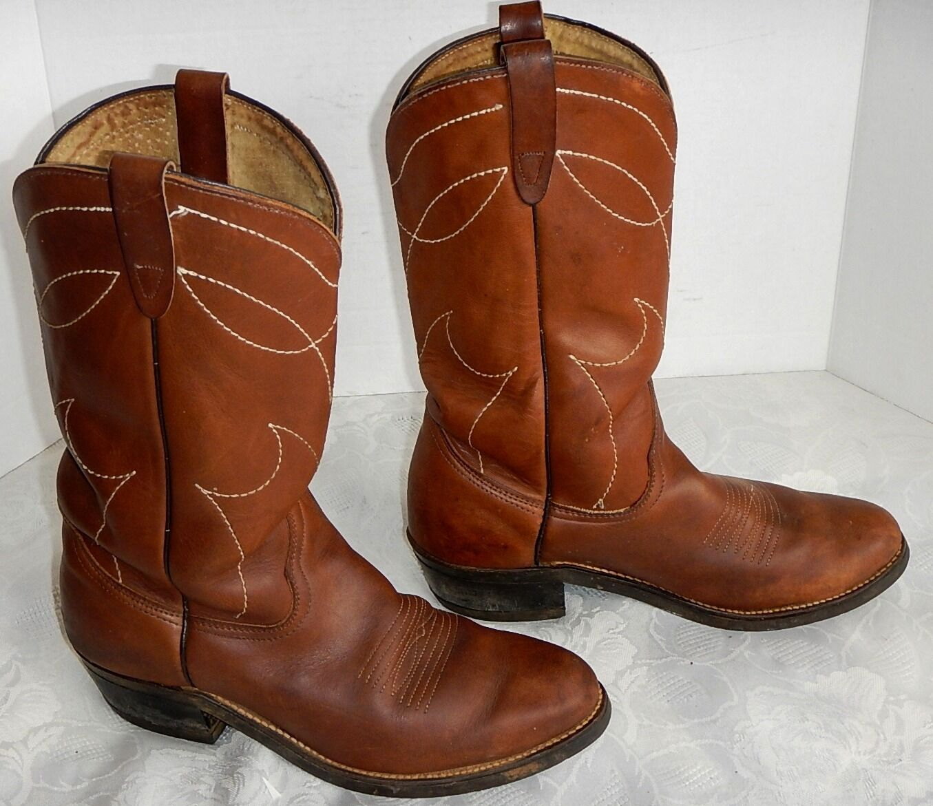VULCAN Cowboy Western Working  Brown Leather Boots SZ 8.5 USA GREAT
