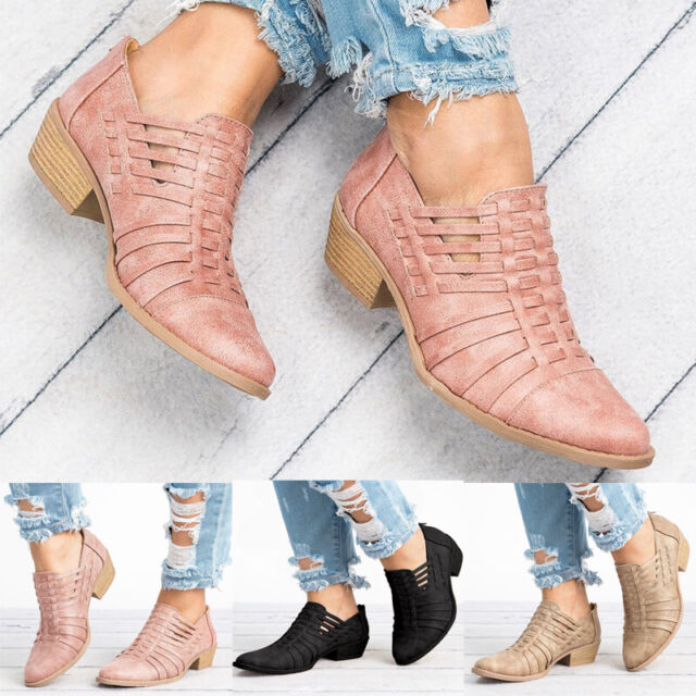 Women Low Block Heels Ankle Chelsea Boots Slip On Pointed Toe Booties Shoes Size
