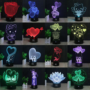 Romantic-Couple-LOVE-3D-LED-Night-Light-Desk-Table-Lamp-Valentine-039-s-Day-Gift