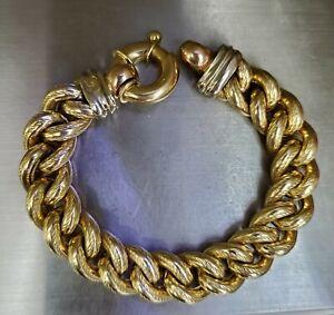 Estate-18K-Yellow-Gold-Etruscan-15M-Large-Link-Bracelet-7-5-034-LONG-41-7-grams