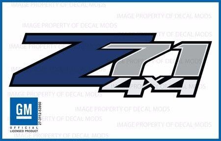 set of 2: 2007 <-> 2013 Chevy Silverado Z71 4x4 Decals - FBLU - Blue Stickers