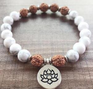 New-Gemstone-yoga-Bless-Sutra-Chakas-mala-8MM-Natural-Howlite-Bodhi-108-Bracelet