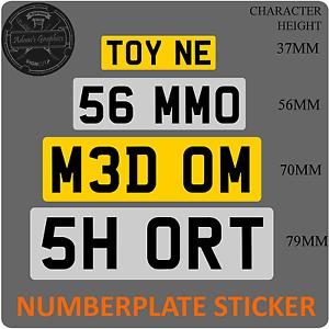Stick-on-Number-Plate-short-shorten-cut-down-mini-small-UK-Reflective-Vinyl