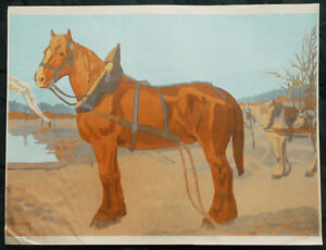 1910-Affiche-lithographiee-chevaux-Nathan-Chapelet-lithographie-art-deco-cheval