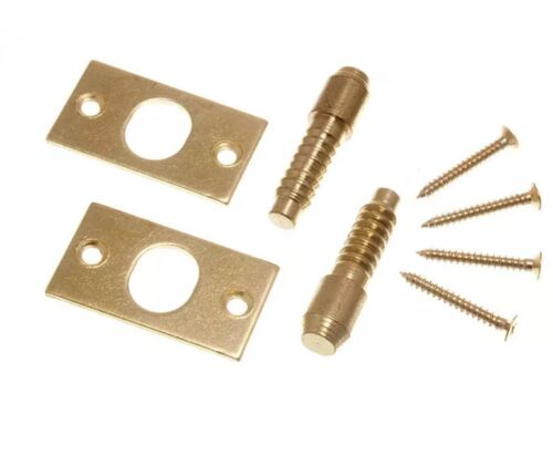 *Security Hinge Bolts Eb Brass Plated Steel With Fixing Screws x 1 Pair
