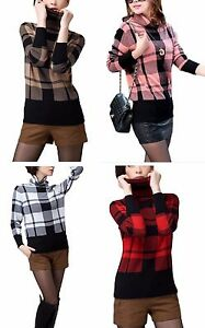 Ladies-Checked-Roll-Neck-Boxy-Jumper-3-4-Sleeve-Brown-White-Black-Red-Pink-4-16
