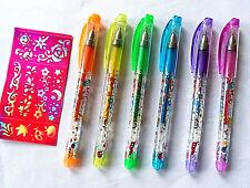 6 Kids Temporary Washable Tattoo Gel Glitter Pens Stencil Kit Set Childrens Fun