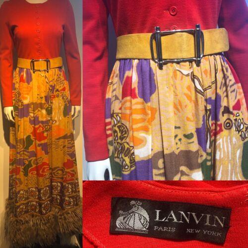 Vintage 1970s LANVIN Graphic Print Skirt Dramatic… - image 1