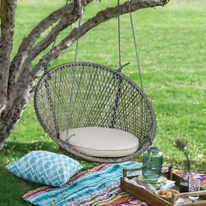 Image Is Loading Boho Chic Tonal Gray Brown Wicker Outdoor Hanging