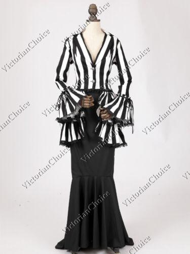 Steampunk Dresses | Women & Girl Costumes   Victorian Edwardian Titanic Stripe Suit Steampunk Punk Dress Vintage Gown 328  AT vintagedancer.com
