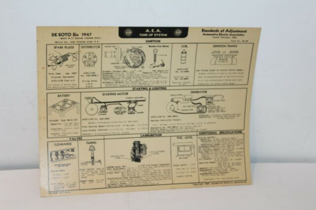 1947 Desoto Six Cylinder Tune Up Chart W  Wiring Diagrams