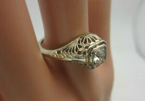 Details about Vintage Antique 14K White Gold 0 40 Carat Diamond Filigree  Ring Old Mine Cut